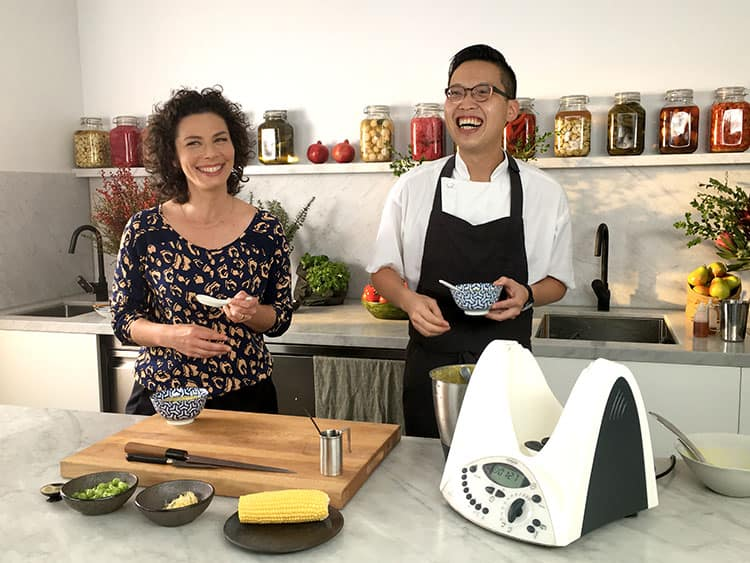 Dani Valent Cooking on set with Victor Liong