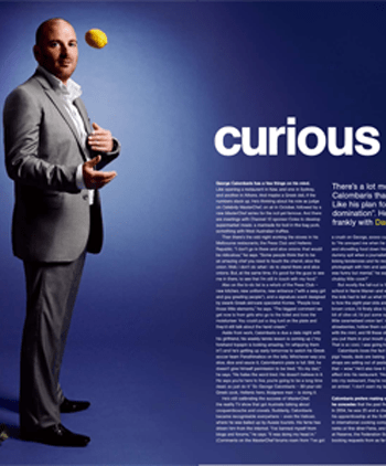 Celebrity chef George Calombaris interviewed by food writer Dani Valent