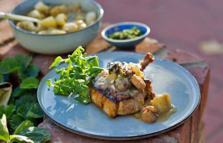 Pork Cutlets with Chestnut & Apple Hash