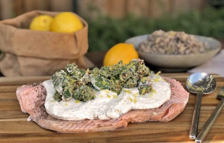 Middle Eastern Salmon with Tahini Sauce and Walnut Relish